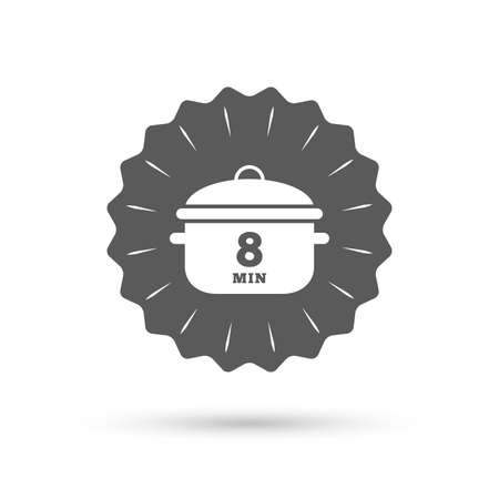 stew: Vintage emblem medal. Boil 8 minutes. Cooking pan sign icon. Stew food symbol. Classic flat icon. Vector Illustration