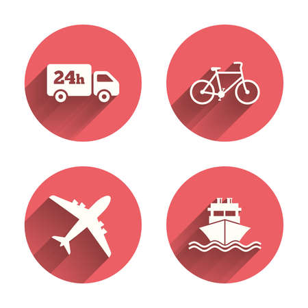 ship sign: Cargo truck and shipping icons. Shipping and eco bicycle delivery signs. Transport symbols. 24h service. Pink circles flat buttons with shadow. Vector