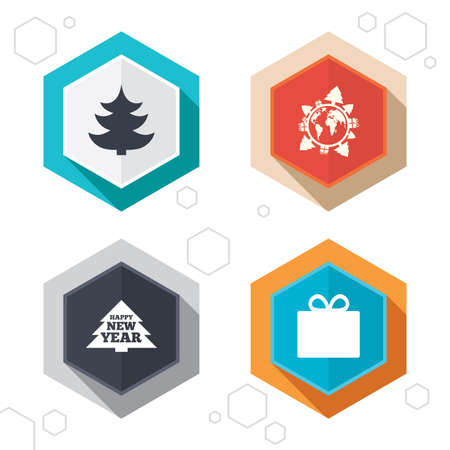 world  hexagon: Hexagon buttons. Happy new year icon. Christmas trees and gift box signs. World globe symbol. Labels with shadow. Vector