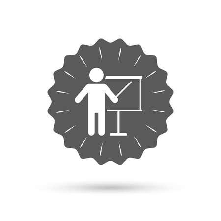 pointer emblem: Vintage emblem medal. Presentation sign icon. Man standing with pointer. Blank empty billboard symbol. Classic flat icon. Vector