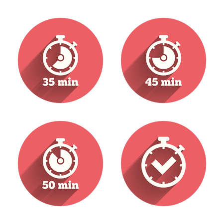 35: Timer icons. 35, 45 and 50 minutes stopwatch symbols. Check or Tick mark. Pink circles flat buttons with shadow. Vector