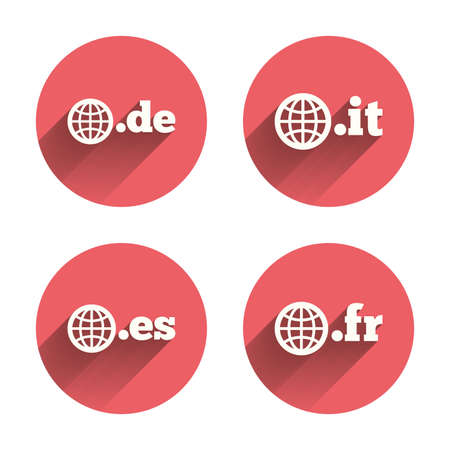vector es: Top-level internet domain icons. De, It, Es and Fr symbols with globe. Unique national DNS names. Pink circles flat buttons with shadow. Vector