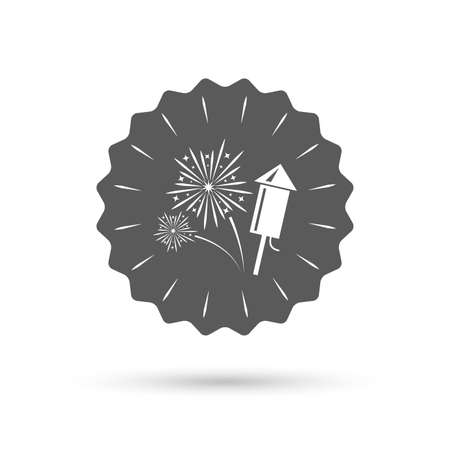 pyrotechnic: Vintage emblem medal. Fireworks with rocket sign icon. Explosive pyrotechnic symbol. Classic flat icon. Vector