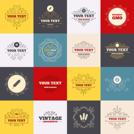 Vintage frames, labels. Agricultural icons. Gluten free or No gluten signs. Without Genetically modified food symbols. Scroll elements. Vector