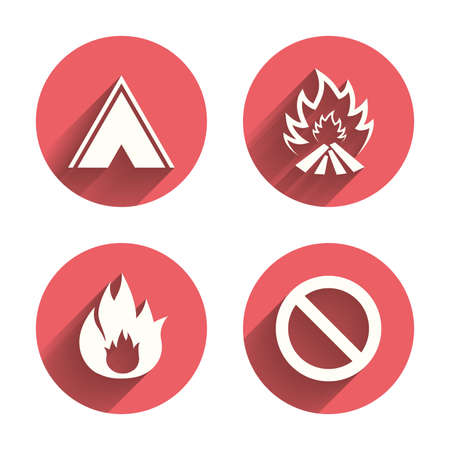 stop icon: Tourist camping tent icon. Fire flame and stop prohibition sign symbols. Pink circles flat buttons with shadow. Vector