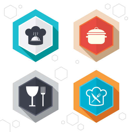 crosswise: Hexagon buttons. Chief hat and cooking pan icons. Crosswise fork and knife signs. Boil or stew food symbols. Labels with shadow. Vector Illustration