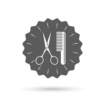 comb hair: Vintage emblem medal. Comb hair with scissors sign icon. Barber symbol. Classic flat icon. Vector Illustration