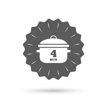 빈티지 엠 블 럼 메달입니다. 4 분 삶아. 요리 냄비 아이콘을 요리. 스튜 음식 기호. 클래식 평면 아이콘입니다. 벡터
