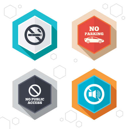private access: Hexagon buttons. Stop smoking and no sound signs. Private territory parking or public access. Cigarette symbol. Speaker volume. Labels with shadow. Vector