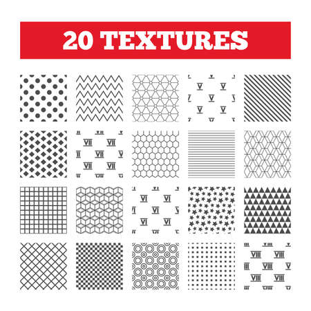 ancient rome: Seamless patterns. Endless textures. Roman numeral icons. 5, 6, 7 and 8 digit characters. Ancient Rome numeric system. Geometric tiles, rhombus. Vector