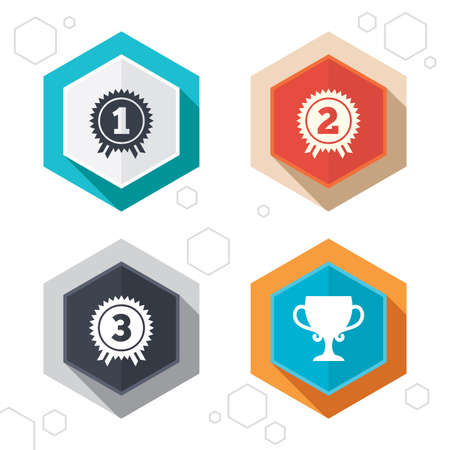 second prize: Hexagon buttons. First, second and third place icons. Award medals sign symbols. Prize cup for winner. Labels with shadow. Vector