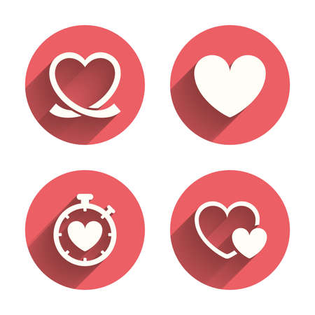 palpitation: Heart ribbon icon. Timer stopwatch symbol. Love and Heartbeat palpitation signs. Pink circles flat buttons with shadow. Vector