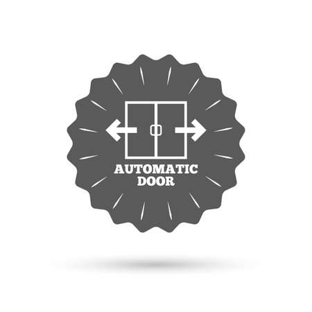 automatic doors: Vintage emblem medal. Automatic door sign icon. Auto open symbol. Classic flat icon. Vector