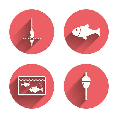 bobber: Fishing icons. Fish with fishermen hook sign. Float bobber symbol. Aquarium icon. Pink circles flat buttons with shadow. Vector