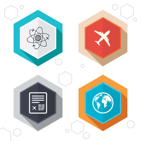 world  hexagon: Hexagon buttons. Airplane icons. World globe symbol. Boarding pass flight sign. Airport ticket with QR code. Labels with shadow. Vector