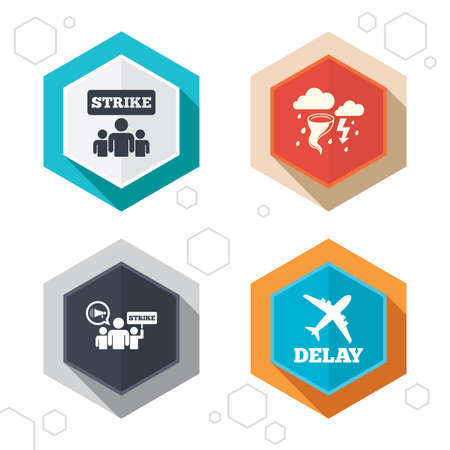 bad weather: Hexagon buttons. Strike icon. Storm bad weather and group of people signs. Delayed flight symbol. Labels with shadow. Vector