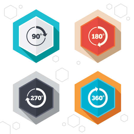 matemáticas: Hexagon botones. Ángulo iconos 45-360 grados círculo. Geometría matemáticas firma símbolos. Completa flecha de rotación completa. Etiquetas con sombra. Vector