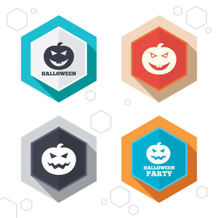 hallows': Hexagon buttons. Halloween pumpkin icons. Halloween party sign symbol. All Hallows Day celebration. Labels with shadow. Vector Illustration