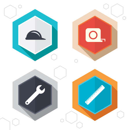 construction tools: Hexagon buttons. Construction helmet and wrench key tool icons. Ruler and tape measure roulette sign symbols. Labels with shadow. Vector
