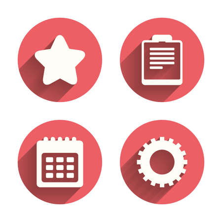 Agenda en Star favoriete pictogrammen. Checklist en tandrad toestel symbolen teken. Roze cirkels flat knoppen met schaduw. Vector