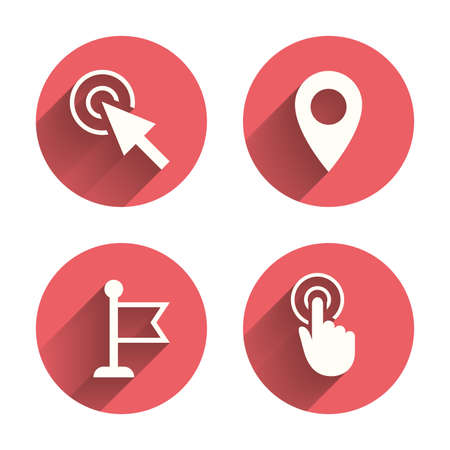 red  pointer: Mouse cursor icon. Hand or Flag pointer symbols. Map location marker sign. Pink circles flat buttons with shadow. Vector