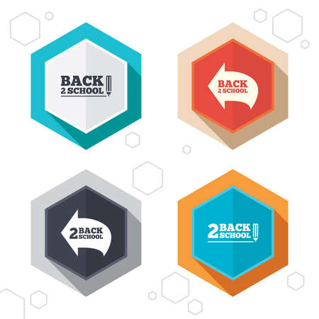 vector studies: Hexagon buttons. Back to school icons. Studies after the holidays signs. Pencil symbol. Labels with shadow. Vector Illustration