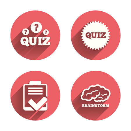 feedback form: Quiz icons. Brainstorm or human think. Checklist symbol. Survey poll or questionnaire feedback form. Questions and answers game sign. Pink circles flat buttons with shadow. Illustration