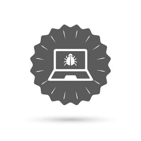 Vintage emblem medal. Laptop virus sign icon.