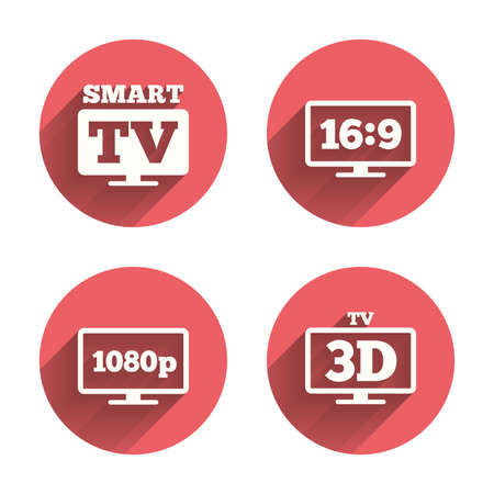 aspect: Smart TV mode icon. Aspect ratio 16:9 widescreen symbol. Full hd 1080p resolution. 3D Television sign. Pink circles flat buttons with shadow.