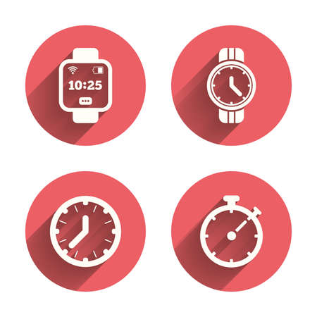 digital timer: Smart watch icons. Mechanical clock time, Stopwatch timer symbols. Wrist digital watch sign. Pink circles flat buttons with shadow.