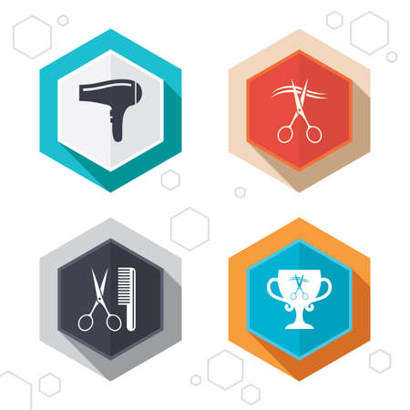 cut hair: Hexagon buttons. Hairdresser icons. Scissors cut hair symbol. Comb hair with hairdryer symbol. Barbershop winner award cup. Labels with shadow.