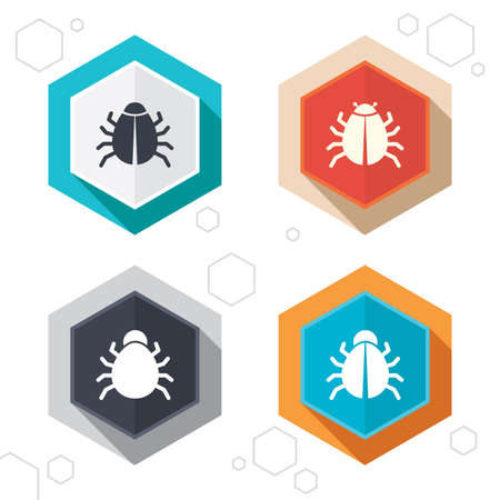 vaccination: Hexagon buttons. Bugs vaccination icons.