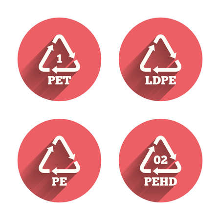 polyethylene: PET, Ld-pe and Hd-pe icons. High-density Polyethylene terephthalate sign. Recycling symbol. Pink circles flat buttons with shadow. Illustration