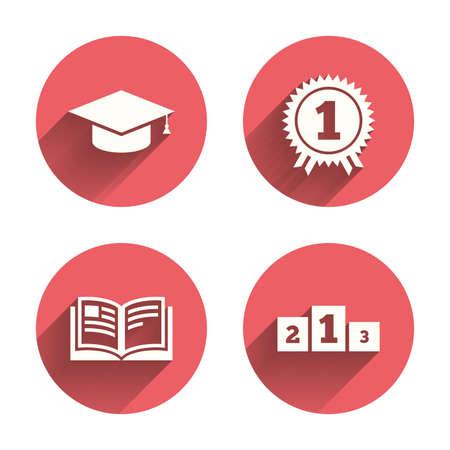 pink cap: Graduation icons. Graduation student cap sign. Education book symbol. First place award. Winners podium. Pink circles flat buttons with shadow. Illustration