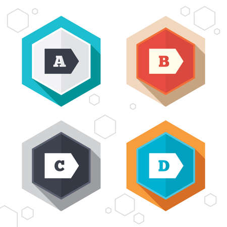 consumption: Hexagon buttons. Energy efficiency class icons. Energy consumption sign symbols. Class A, B, C and D. Labels with shadow. Illustration
