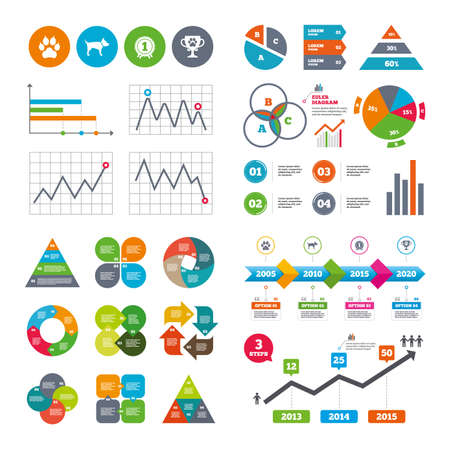 charts and graphs: Business data pie charts graphs. Pets icons.