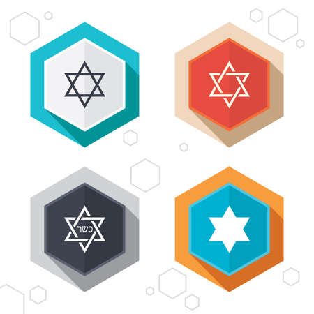 Hexagon buttons. Star of David sign icons. Symbol of Israel. Labels with shadow.