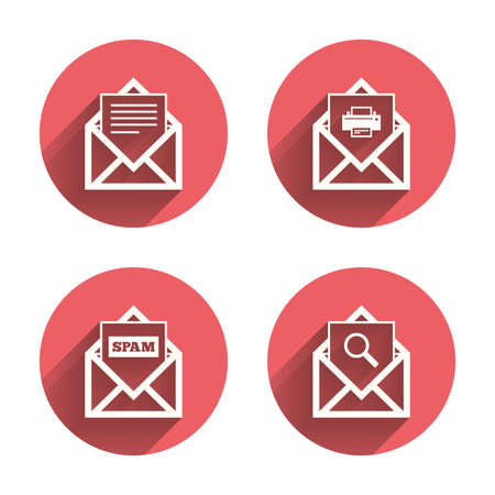 webmail: Mail envelope icons. Print message document symbol. Post office letter signs. Spam mails and search message icons. Pink circles flat buttons with shadow. Vector Illustration