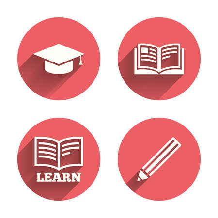 pink cap: Pencil and open book icons. Graduation cap symbol. Higher education learn signs. Pink circles flat buttons with shadow.