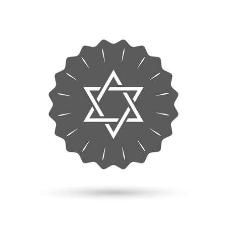 hexagram: Vintage emblem medal. Star of David sign icon.