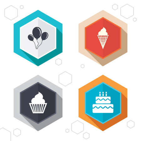 cupcake background: Hexagon buttons. Birthday party icons.
