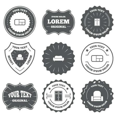 vintage furniture: Vintage emblems, labels. Furniture icons.