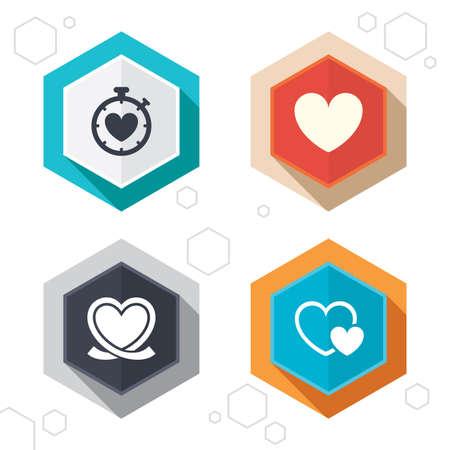 Hexagon buttons. Heart ribbon icon. Çizim