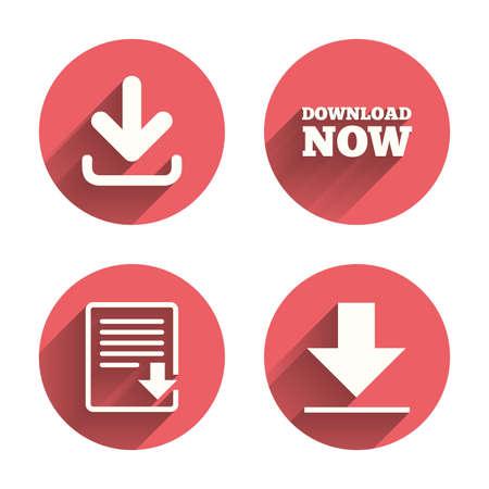 ftp servers: Download now icon. Upload file document symbol. Illustration