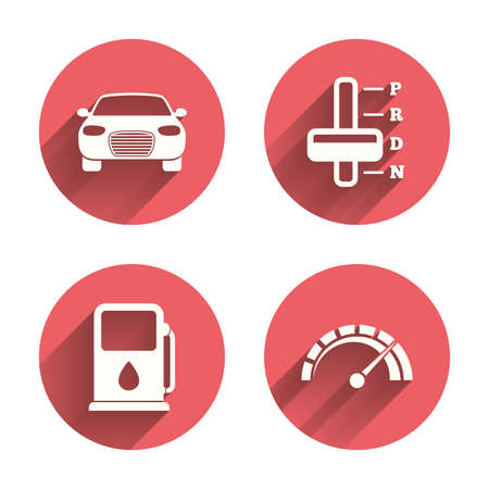 automatic transmission: Transport icons. Car tachometer and automatic transmission symbols. Petrol or Gas station sign. Pink circles flat buttons with shadow.