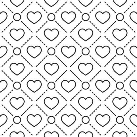 texturing: Hearts with circles lines texture. Stripped geometric seamless pattern.