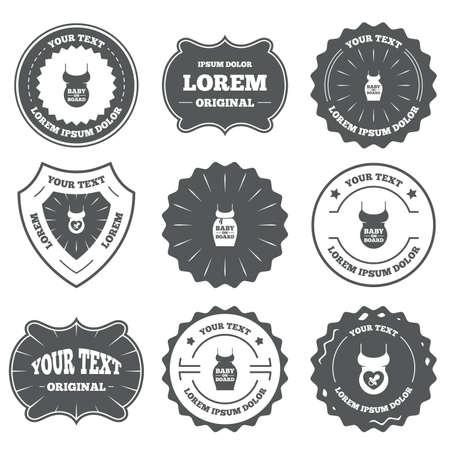 bebe a bordo: Vintage de los emblemas, etiquetas. Beb� a bordo de iconos.