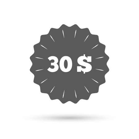 30: Vintage emblem medal. 30 Dollars sign icon.