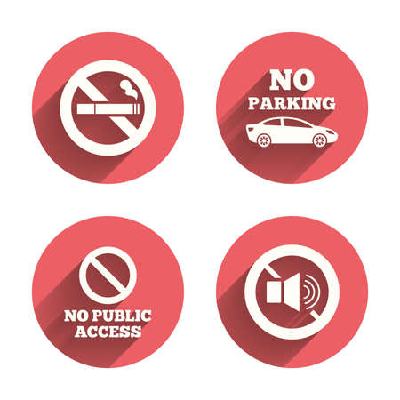 tech no: Stop smoking and no sound signs. Private territory parking or public access. Cigarette symbol. Speaker volume. Pink circles flat buttons with shadow.