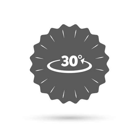 30: Vintage emblem medal. Angle 30 degrees sign icon.